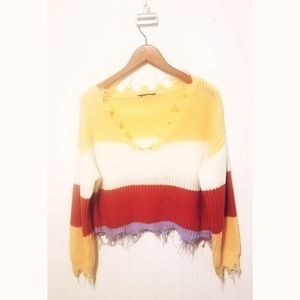 Raw edge colorblock cropped slouchy knit V sweater